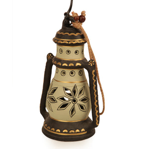 9 Inch Terracotta Lantern Handpainted Cream