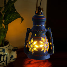 Load image into Gallery viewer, 9 Inch Terracotta Lantern Handpainted Blue