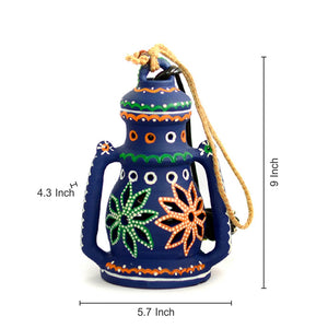 9 Inch Terracotta Lantern Handpainted Blue