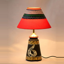 Load image into Gallery viewer, 14 Inch Terracotta Handpainted Madhubani  Tappered Lamp Black