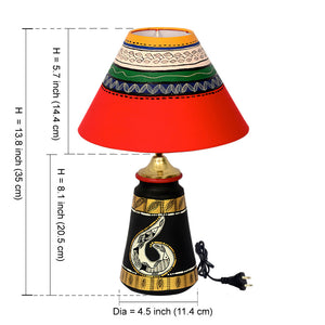 14 Inch Terracotta Handpainted Madhubani  Tappered Lamp Black