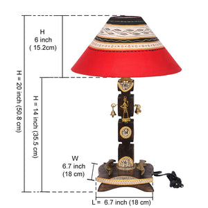 20 Inch Dhokra And Warli Handpainted Wooden Lamp Brown