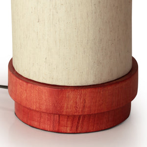 14 Inch Wooden Lamp Maroon