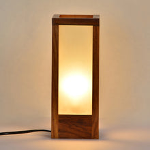 Load image into Gallery viewer, 10 Inch Modern Frosted Glass Lamp In Sheesham Wood