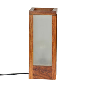 10 Inch Modern Frosted Glass Lamp In Sheesham Wood