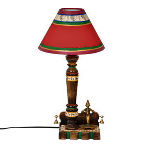 19 Inch Dhokra Figurine & Warli Handpainted Wooden Lamp Brown