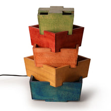 Load image into Gallery viewer, Zig-Zag Colorful Wooden Table Lamp