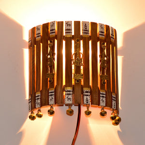 Handcrafted Warli & Dhokra Art Wall Lamp