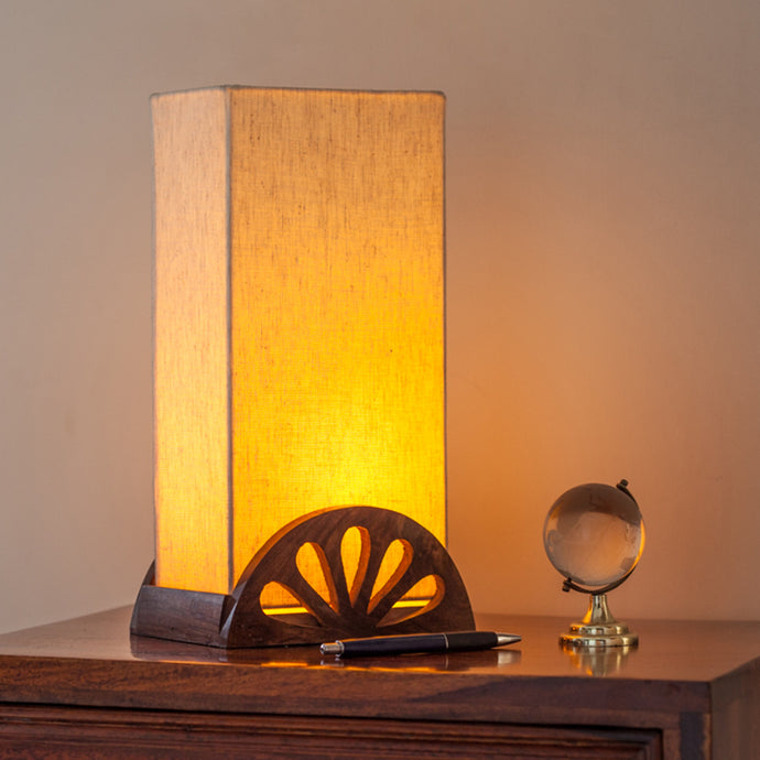 12 Inch Wooden Carved Table Lamp In Sheesham Wood