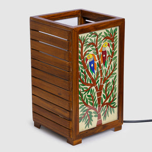 'The Tree Of Light' Mithila Hand-Painted Table Lamp In Teak Wood