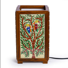 Load image into Gallery viewer, 'The Tree Of Light' Mithila Hand-Painted Table Lamp In Teak Wood
