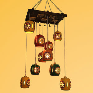 Barrel Shaped Chandelier With Metal Hanging Shades (10 Shades)
