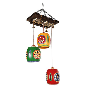 Barrel Shaped Chandelier With Metal Hanging Shades (3 Shades)