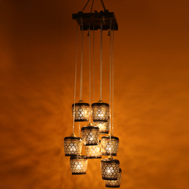 Barrel Shaped Chandelier With Metal Hanging Shades In Gleaming Golden (10 Shades)