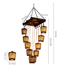Load image into Gallery viewer, Barrel Shaped Chandelier With Metal Hanging Shades In Gleaming Golden (10 Shades)