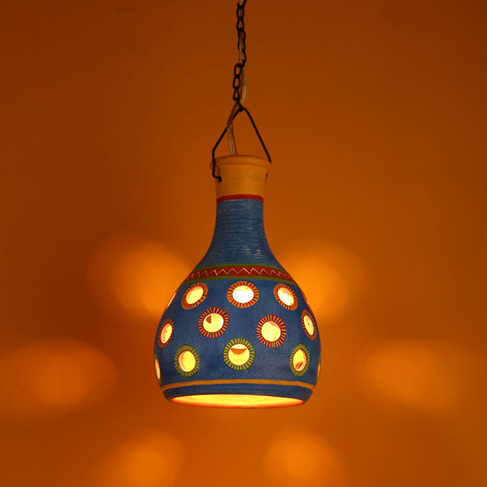 'Lanterns In Colour' Terracotta Pendant Cum Hanging Lamp In Azure Blue