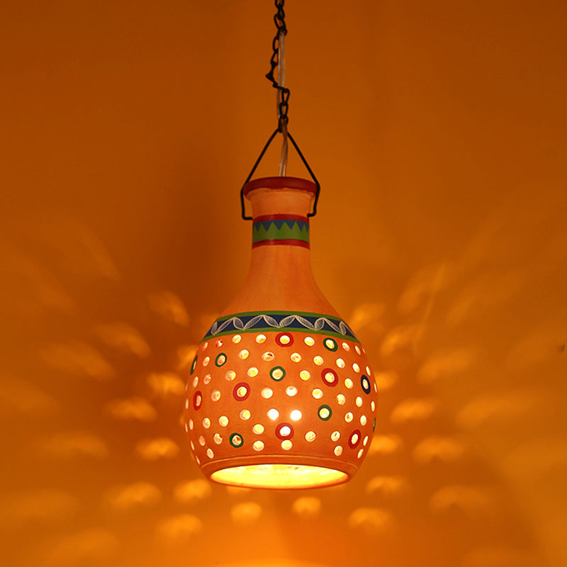 'Lanterns In Colour' Terracotta Pendant Cum Hanging Lamp In Tangerine Orange