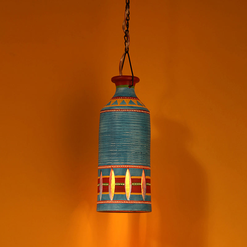 'The Light Carrier' Terracotta Pendant Cum Hanging Lamp In Azure Blue
