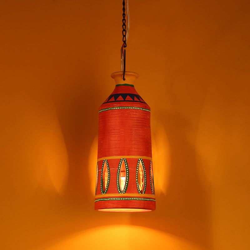 'The Light Carrier' Terracotta Pendant Cum Hanging Lamp In Tangerine Orange