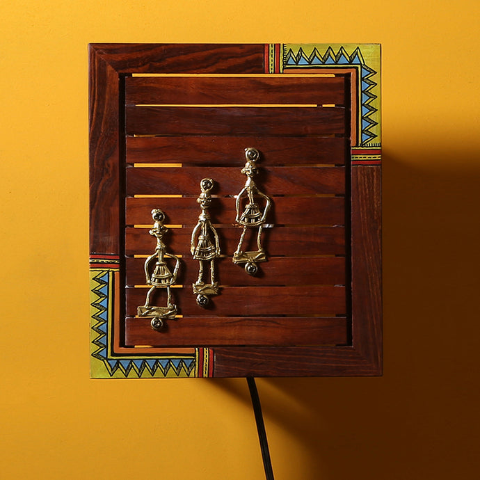 'Light In A Box' Sheesham Wood Wall Lamp With Dhokra Art