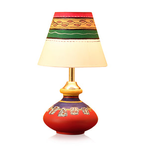 'Warli In Light' Hand-Painted Pot Shaped Round Table Lamp In Terracotta