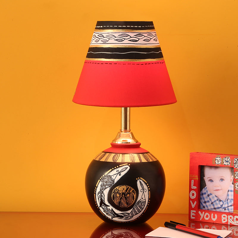'Madhubani Shimmers' Hand-Painted Pot Shaped Round Table Lamp In Terracotta