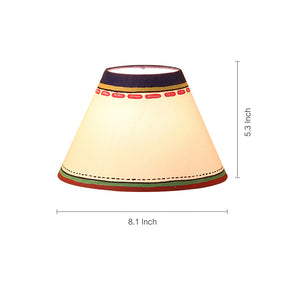'Warli In Light' Hand-Painted Flat Matki Shaped Table Lamp In Terracotta