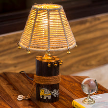 Load image into Gallery viewer, 'The Jute-Shade Log' Madhubani Hand-Painted Table Lamp In Wood