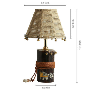'The Jute-Shade Log' Madhubani Hand-Painted Table Lamp In Wood