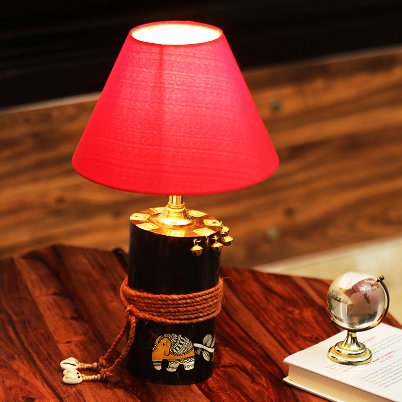 'The Red-Shade Log' Madhubani Hand-Painted Table Lamp In Wood