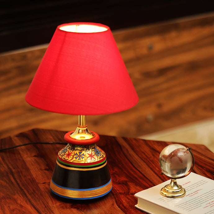 'Glowing Reds' Floral Hand-Painted Vessel Shaped Table Lamp In Terracotta