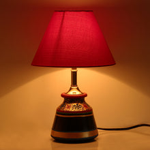 Load image into Gallery viewer, 'Glowing Reds' Floral Hand-Painted Vessel Shaped Table Lamp In Terracotta
