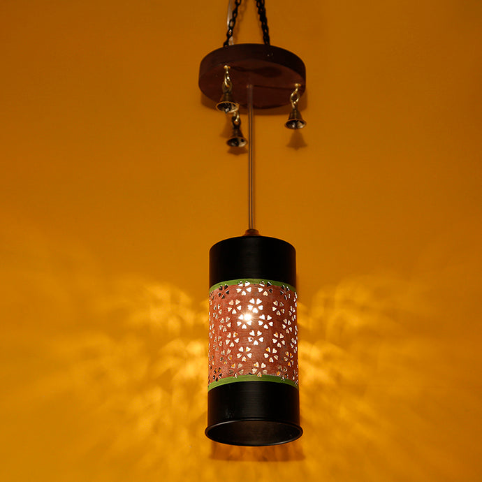Cylindrical Metal Pendant Hanging Lamp Shade In Black & Orange (1 Shade)