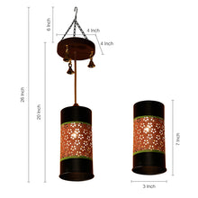 Load image into Gallery viewer, Cylindrical Metal Pendant Hanging Lamp Shade In Black & Orange (1 Shade)