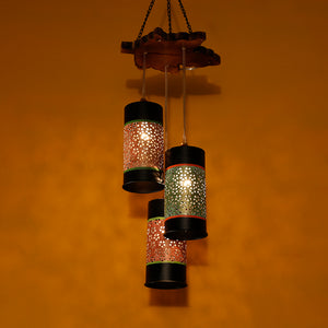Cylindrical Chandelier With Metal Hanging Lamp Shades (3 Shades)