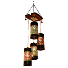 Load image into Gallery viewer, Cylindrical Chandelier With Metal Hanging Lamp Shades (4 Shades)