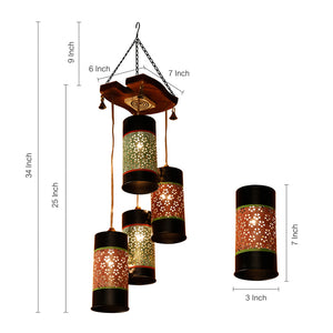Cylindrical Chandelier With Metal Hanging Lamp Shades (4 Shades)