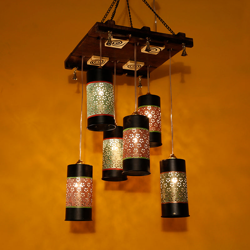 Cylindrical Chandelier With Metal Hanging Lamp Shades (6 Shades)