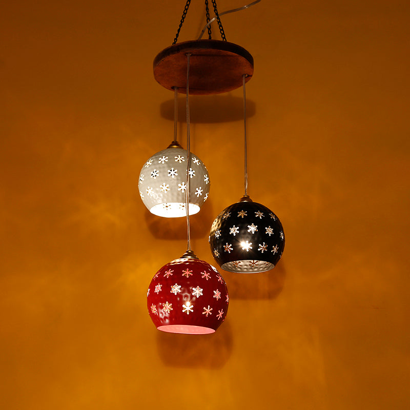 Dome Shaped Chandelier With Metal Hanging Lamp Shades (3 Shades)