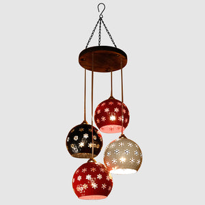 Dome Shaped Chandelier With Metal Hanging Lamp Shades (4 Shades)