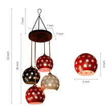 Load image into Gallery viewer, Dome Shaped Chandelier With Metal Hanging Lamp Shades (4 Shades)