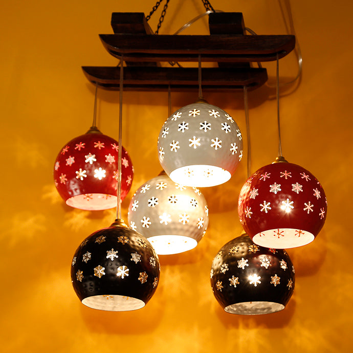 Dome Shaped Chandelier With Metal Hanging Lamp Shades (6 Shades)
