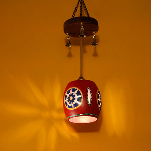 Barrel Shaped Pendant Hanging Lamp Shade In Red (1 Shade)