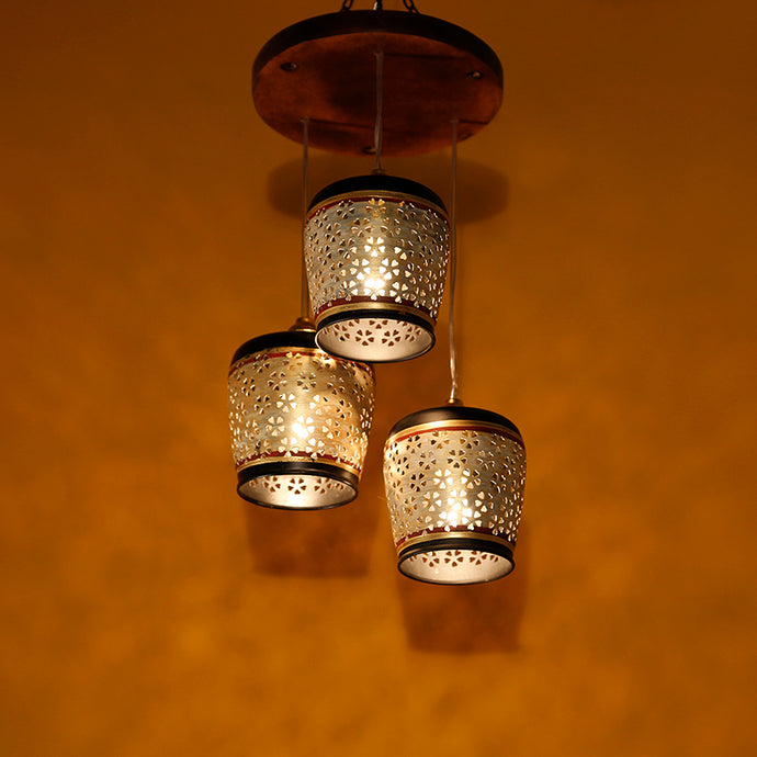 Barrel Shaped Chandelier With Metal Hanging Lamp Shades In Gleaming Golden (3 Shades)