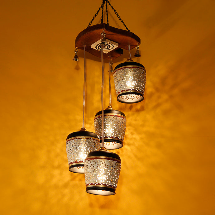 Barrel Shaped Chandelier With Metal Hanging Lamp Shades In Gleaming Golden (4 Shades)