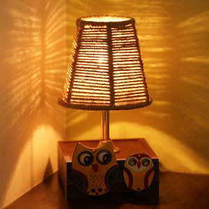 'The Jute Shade' Twin Owl Motifs Table Lamp