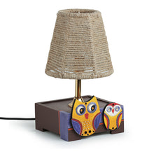 Load image into Gallery viewer, 'The Jute Shade' Twin Owl Motifs Table Lamp