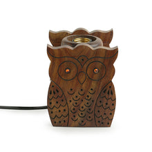 Load image into Gallery viewer, 'Bright Night Owl' Table Lamp With Hand Carved Owl Motif In Sheesham Wood