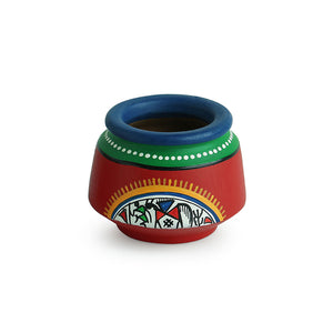 Terracotta Handpainted Warli Toothpick Holder Set Red