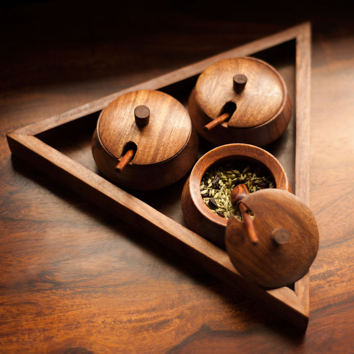Triangular Jar Set With Tray And Spoon In Sheesham Wood